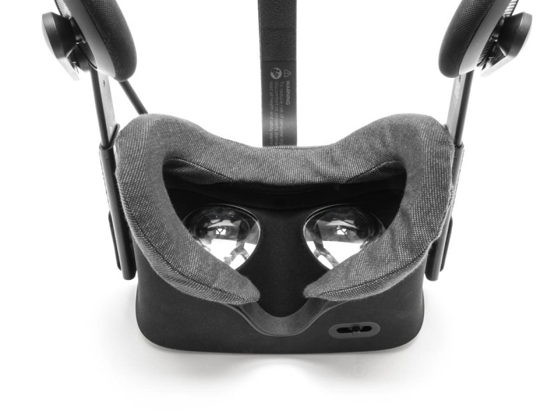 An Oculus Rift virtual reality headset with a cover for hygiene